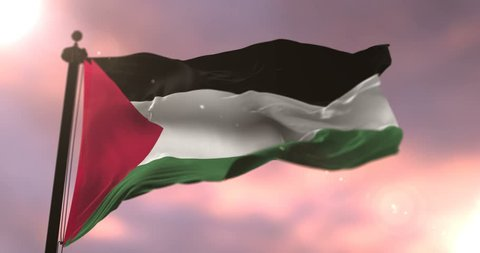 Flag of Palestine waving at wind at sunset in slow, loop