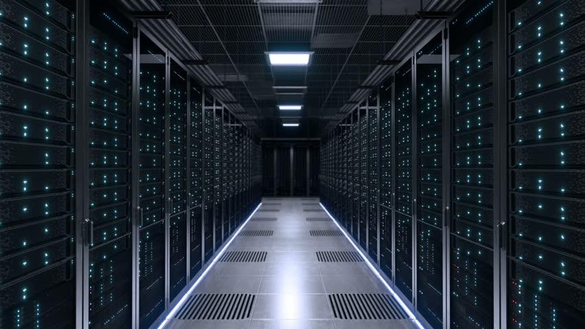 Modern data center with blinking blue LED lights | Shutterstock HD Video #1011347150