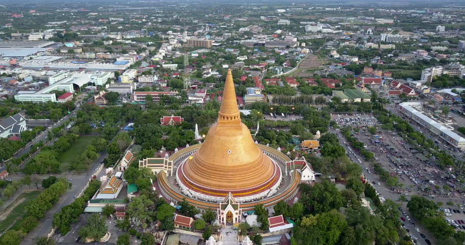 4K. Aerial drone view of Phra Pathom Chedi, the great golden pagoda and world's tallest stupa in Nakhon Pathom, Southeast Asia, Thailand