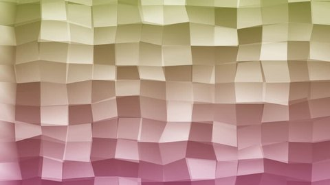 Loopable Abstract Pink Magenta Green Low Poly 3D surface as CG background. Volume Polygonal Geometric Low Poly motion background of Pink Magenta Green polygons. 4K Fullhd seamless loop render V33