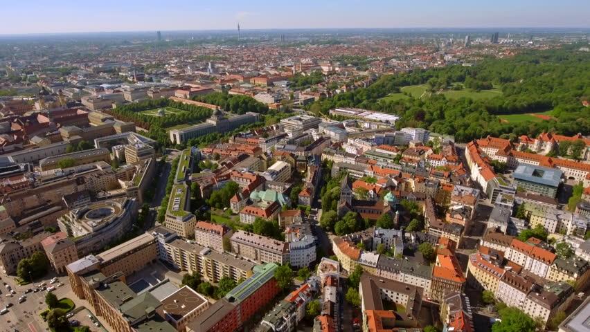 Munich City Aerial View feat. Landmarks such as Bayerische Staatskanzlei State government office, Germany museum Haus der Kunst, Englischer Garten Park, St. Ludwig München Church in Germany