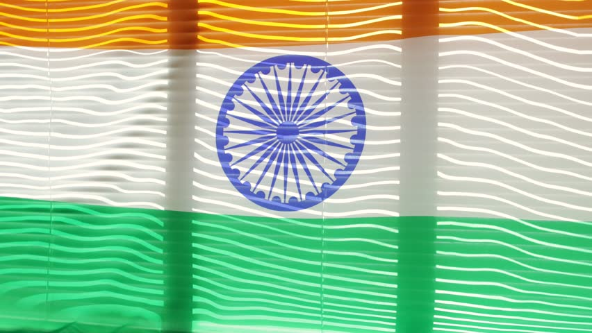 Indian flag is moving from the blowing draft at jalousie window in sunny day. | Shutterstock HD Video #1011412250