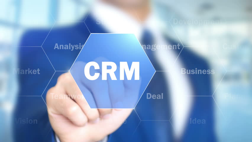 CRM, Businessman Using Augmented Holographic Interface