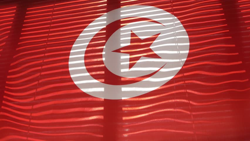 Tunisian flag hanging at wide jalousie window. Closeup  #1011468860