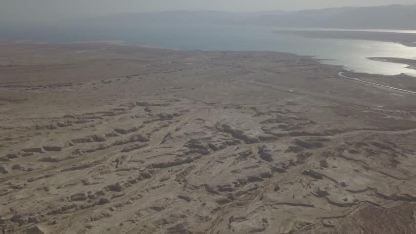 Dead sea desert 4k aerial view ungraded flat | Shutterstock HD Video #1011483140