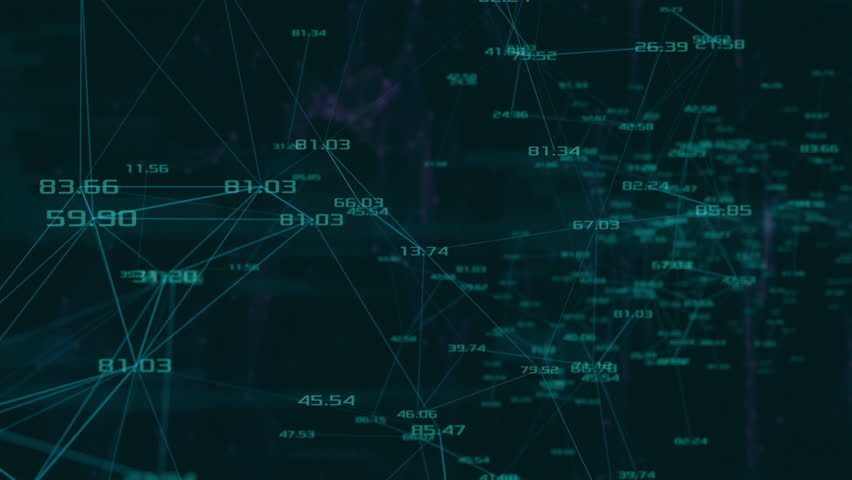 Abstract network of lines and random numbers with polygons and clouds on background. . loop animation (3d render) | Shutterstock HD Video #1011493190