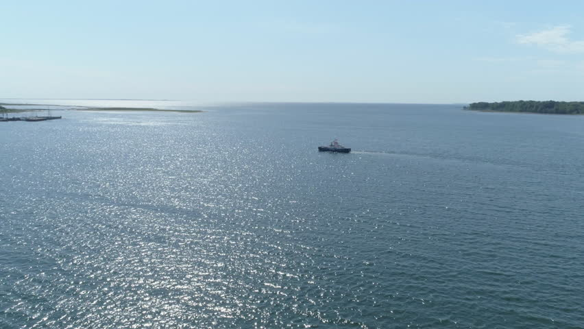 Drone over ship on water, Jutland, Denmark | Shutterstock HD Video #1011502370