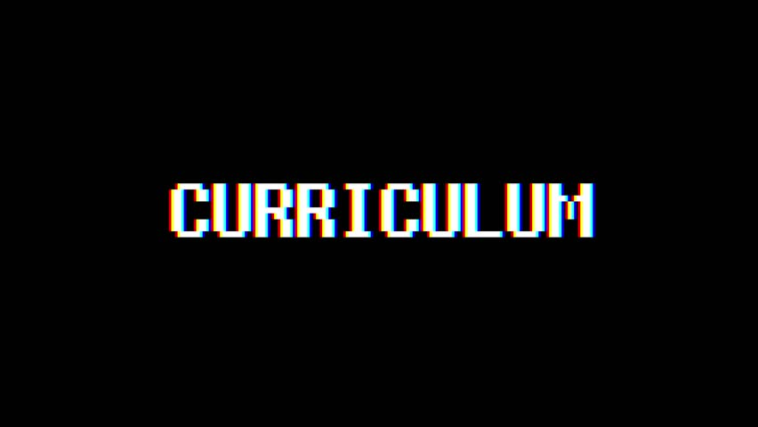 Retro videogame CURRICULUM word text computer tv glitch interference noise screen animation seamless loop New quality universal vintage motion dynamic animated background colorful joyful video m   Shutterstock HD Video #1011505940