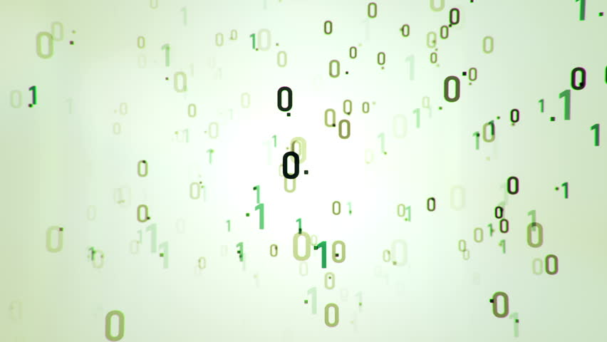 Technologic background with representation of binary code. Binary digits 1 and 0 in different configurations on colorful background. Animation of seamless loop.
