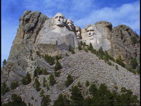 MT. RUSHMORE, 1999, Mount Rushmore, wide shot front view, tilt up