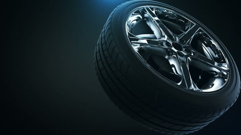 4k quality 3d animation tire background with nice light and seamless loop.