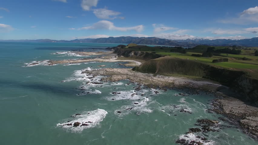 Aerial view of reef uplift and newly shaped coastline after 2016 earthquake in Kaikoura, New Zealand