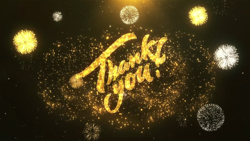 Thank You Greeting Card text Reveal from Golden Firework & Crackers on Glitter Shiny Magic Particles & Sparks Night star sky for Celebration, Wishes, Events, Message, holiday, festival  | Shutterstock HD Video #1011561860