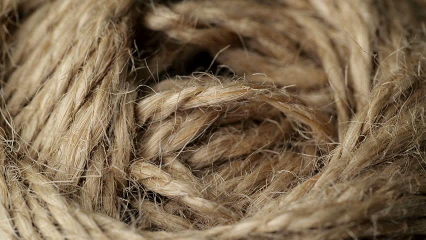 Jute burlap rustic twine string rope cord. Close up.