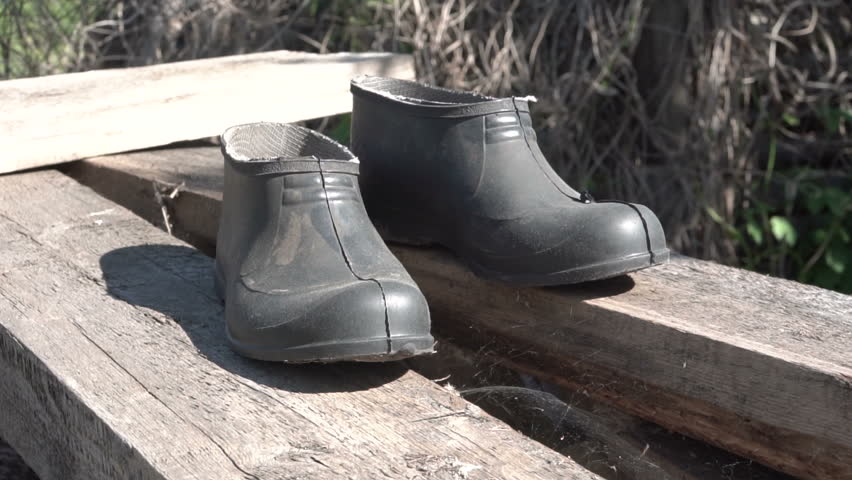 Rubber galoshes stand on wooden boards. Pair of shoes. Black. Summer time. Bright day. Green leaves on the background. Country life. Rustic atmosphere.