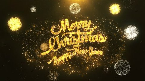 Merry Christmas and Happy New Year Greeting Card text Reveal from Golden Firework & Crackers on Glitter Shiny Magic Particles & Sparks Night star sky for Celebration, Wishes, Events, Message, holiday