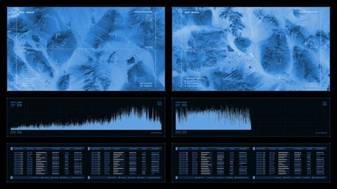 Monochromatic visual display: aerial recon, graphs, readouts, indicators . Reversible seamless loop. Elements of this image furnished by NASA