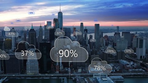 Aerial smart city. Network connections and cloud computing icons with percentages. Technology concept, data communication, artificial intelligence, internet of things. New York City skyline.