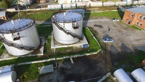 Top view of the oil tank. Stock. Oil storage tank in petrochemical refinery industry plant in petroleum and heavy industrial plant