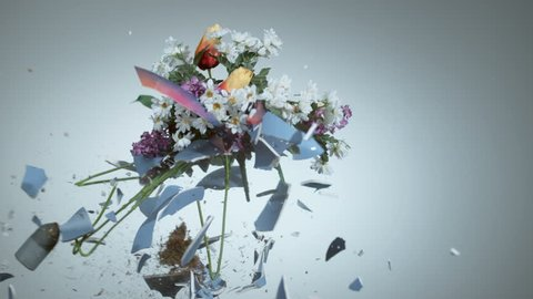 Vase with fake flowers shattering in super slow motion, shot with Phantom Flex 4K
