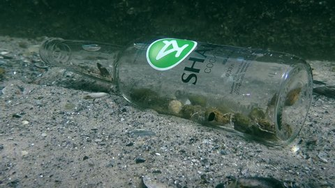 ODESSA, UKRAINE - SEPTEMBER 2017: Garbage in the sea: a bottle that became a trap for hermit crabs.