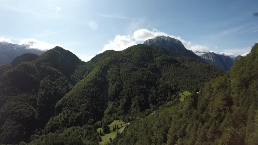 Drone hight mountains (the alps Europe) with a lot of trees and green terrain beautiful landscape scenery #1011697730