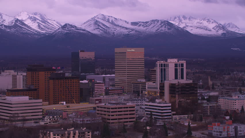 Anchorage, Alaska circa-2018. Aerial view of Anchorage, Alaska at sunset. Shot from helicopter with Cineflex gimbal and RED Epic-W camera.