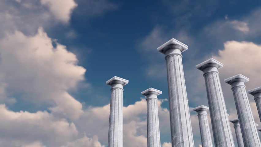 Low angle view of white marble ancient tuscan order columns in a row against daytime cloudy sky background. Abstract concept realistic 3D animation rendered in 4K