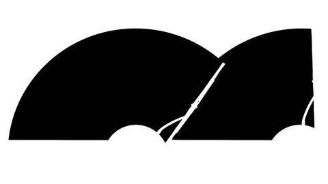Alpha matte silhouette of two windscreen wipers, seamless loop 3d animation