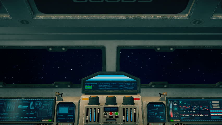 Spaceship cockpit interior, inside of rotating spacecraft cabin flying through space, 3D animated science fiction scene