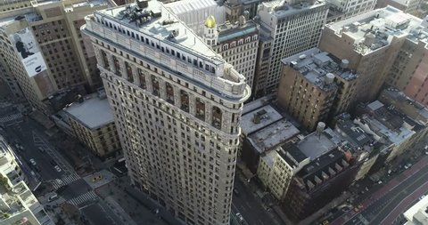 Manhattan, New York City, New York / USA - May 1 2018: Aerial of Skyscrapers and buildings around the Flatiron District and Midtown Manhattan.