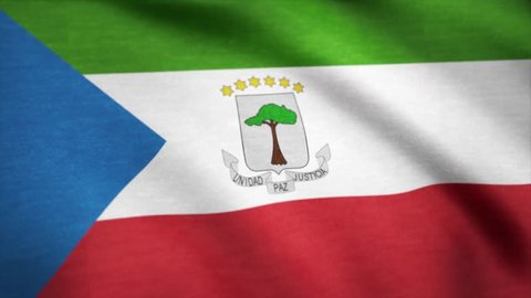 Equatorial Guinea flag waving animation. 4K Seamless Loopable Flag of Equatorial Guinea