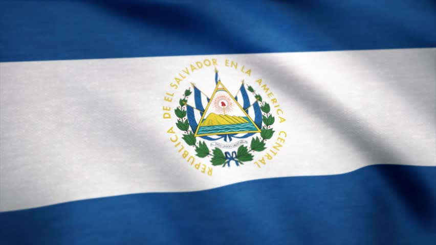 Salvador flag waving animation. Full Screen. Flag of El Salvador. Rendered using official design and colors. Seamless loop. Symbol of the country