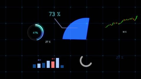Growing chart in blue tone. Financial figures and diagrams showing increasing profits graph.