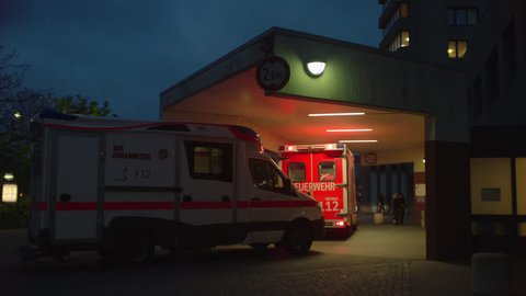 2 ambulances in front of hopsital. May, 2017 Berlin, Germany