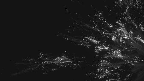 4K Organic particles expand across the frame like smoke, ash and paint powder.