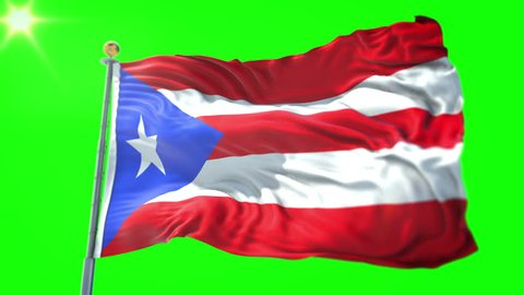 Puerto Rico flag seamless looping 3D rendering video. 3in1:Includes isolated on green screen and alpha channel as luma matte for easy clipping in AE. Beautiful detailed fabric loop waving in the wind