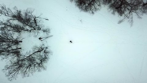 Young couple is running along the snow-covered forest glade. Aerial high drone shooting.
