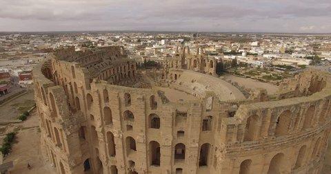 Beautiful aerial view of ruins of the biggest coliseum El Jem in Tunisia.