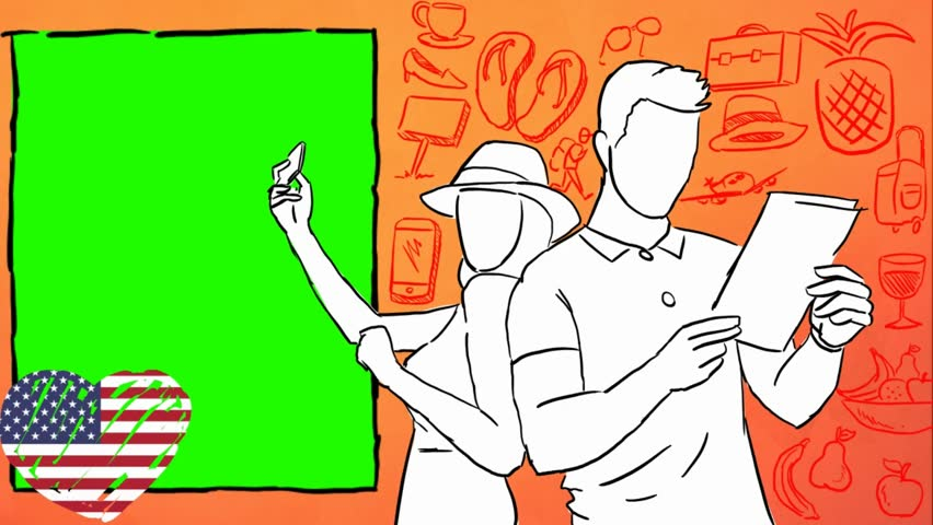 USA  hand drawn tourism | Shutterstock HD Video #1012042550