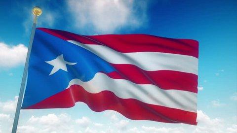 Puerto Rico Flag Waving 3D Rendering Blue Sky Background - Seamless Loop 4K