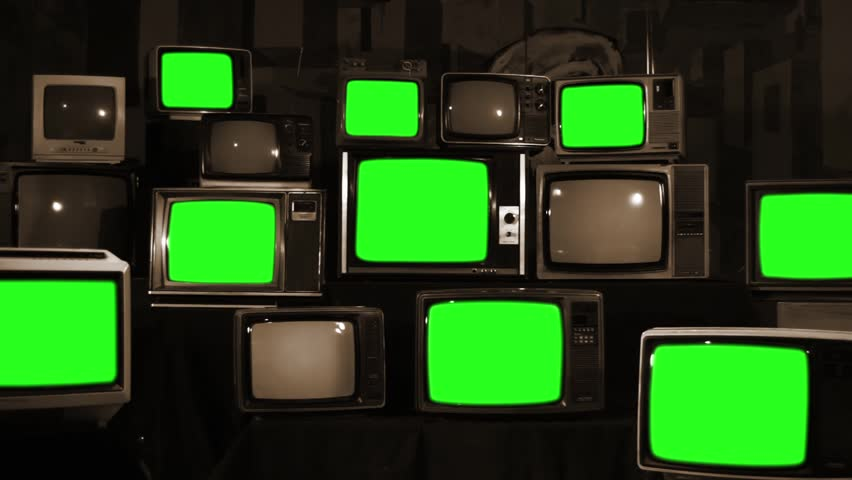 "Old Retro TVs Turning On Green Screen. Zoom Out. Sepia Tone. You can Replace Green Screen with the Footage or Picture you Want with ""Keying"" effect in After Effects (check out tutorials on YouTube).  