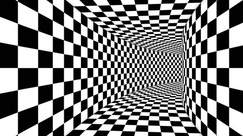 An innovative 3d rendering of an optical illusion formed by black and white squares making a huge cubic tunnel from chessboards creating the magic and supernatural spirit.