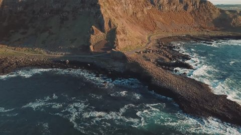 4k Aerial Shot of Giant's Causeway rocks in Northern Ireland
