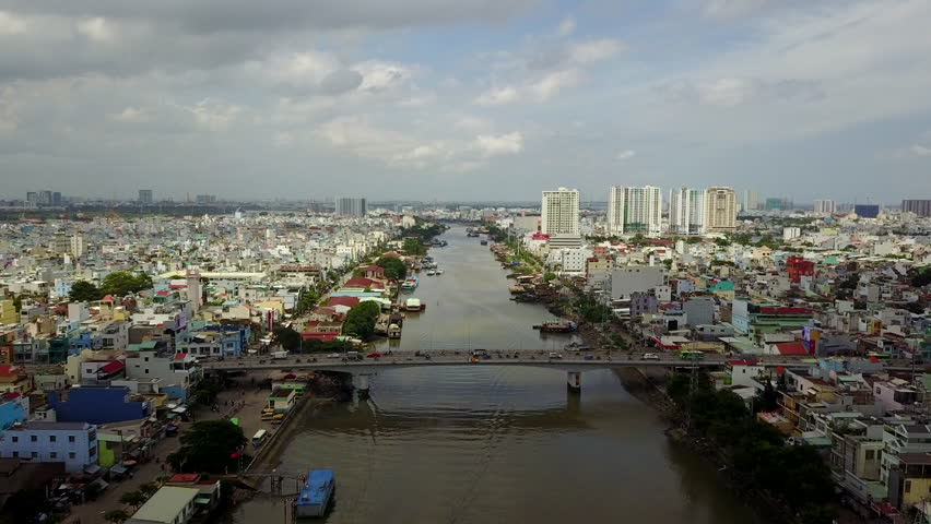 Aerial Drone -Flying Down Kenh Te River in Ho Chi Minh City Vietnam | Shutterstock HD Video #1012088120