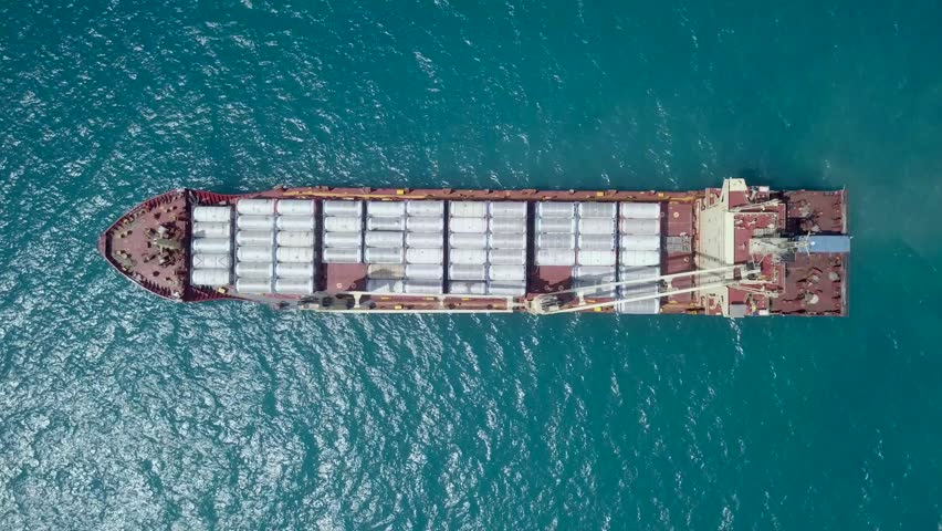 Large general cargo ship loaded with gas containers - Top down aerial footage | Shutterstock HD Video #1012107560