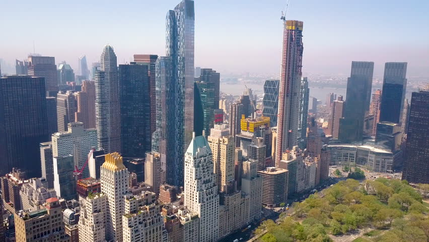 Aerial view of Central Park, Upper East Side and West Side Manhattan and Midtown Manhattan, New York, USA. Luxury residential buildings.