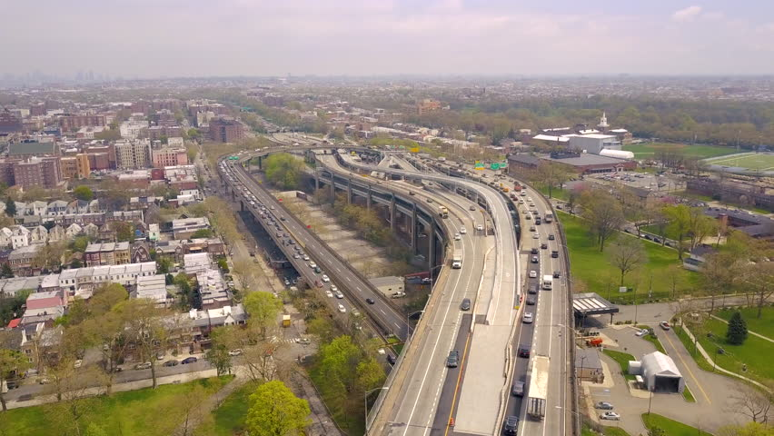 Aerial view of interchange of Verrazano bidge in Brooklyn, Bay Ridge, New York City. NY from above. Drone shot. USA | Shutterstock HD Video #1012125740