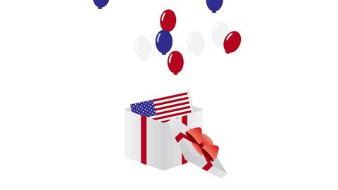 4th Of July animation. Red,Blue and white balloons Flying out from a gift box
