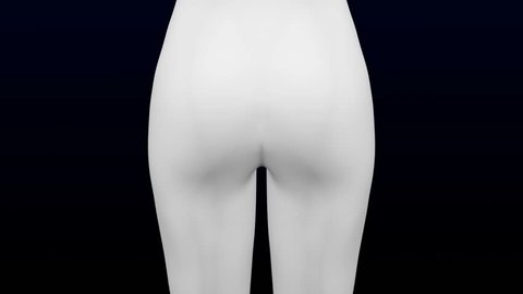 3d woman's ass gain weight and lose weight. Loopable. Luma matte. 3D rendering.